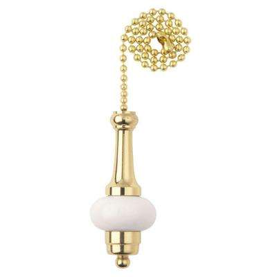 Brass and Ceramic White Accent Pull Chain