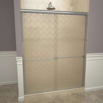 1000 Series 60 in. W x 70 in. H Semi-Frameless Sliding Shower Doors in Brushed Nickel with Towel Bar and Obscure Glass
