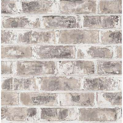 56.4 sq. ft. Jomax Grey Warehouse Brick Wallpaper