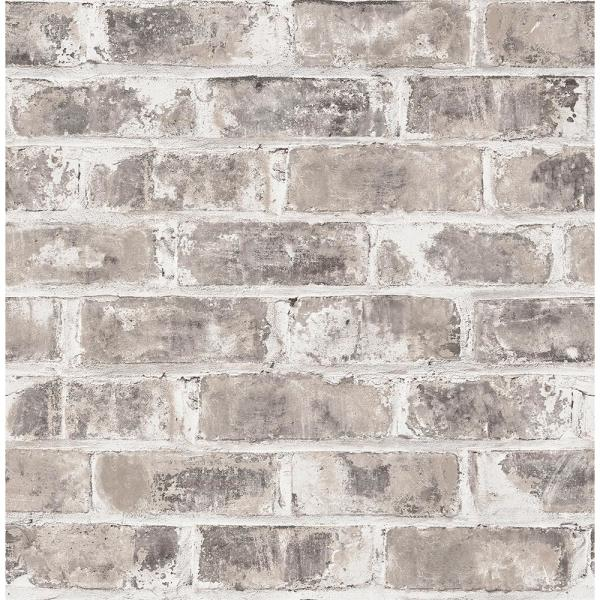 Brewster 56.4 sq. ft. Jomax Grey Warehouse Brick Wallpaper