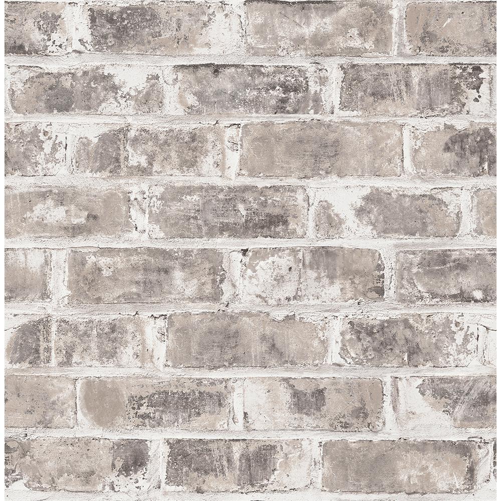8 in. x 10 in. Jomax Grey Warehouse Brick Wallpaper Sample