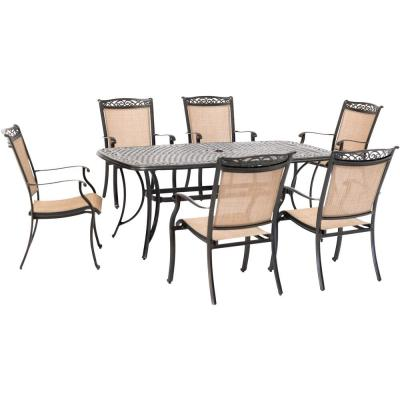 Fontana 7-Piece Aluminum Outdoor Dining Set with 6 Sling Chairs and a 38 in. x 72 in. Cast-Top Table