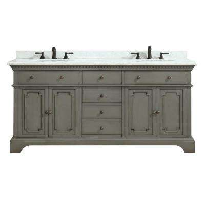 Hastings 73 in. W x 22 in. D x 35 in. H Vanity in French Gray with Marble Vanity Top in Carrera White with Basin