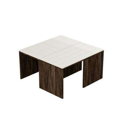 Cameron Dark Brown and White Modern Coffee Table