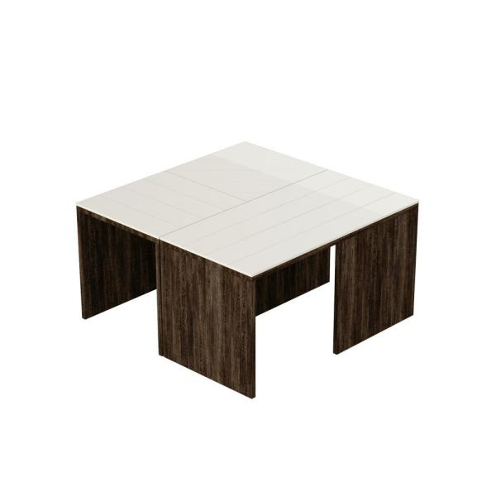 Ada Home Decor Cameron Dark Brown and White Modern Coffee Table