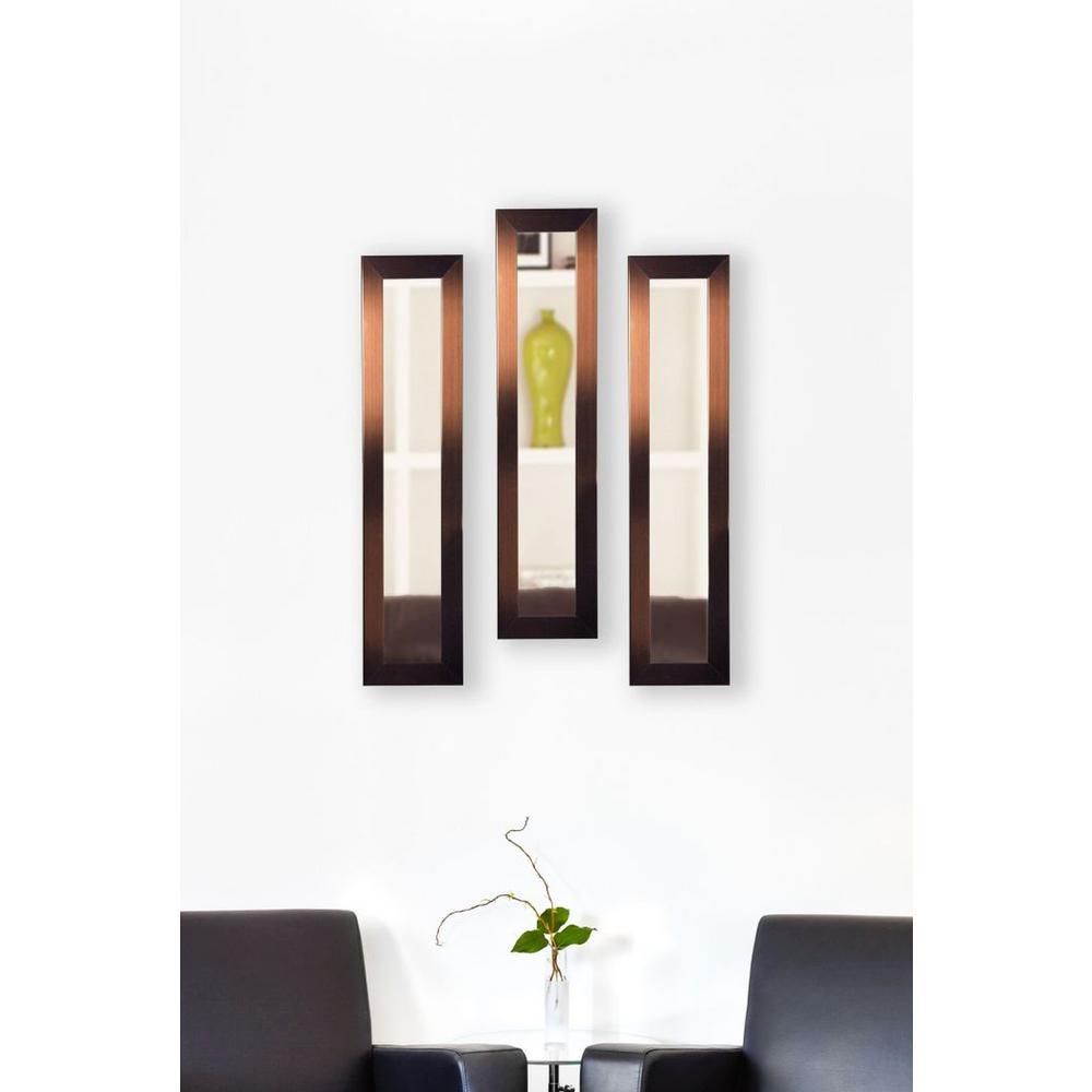 9.5 in. x 27.5 in. Shiny Bronze Vanity Mirror (Set of 3-Panels)