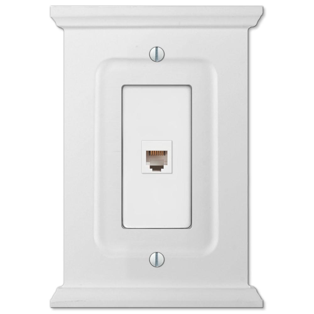 Mantel 1 Gang Phone Wood Wall Plate - White