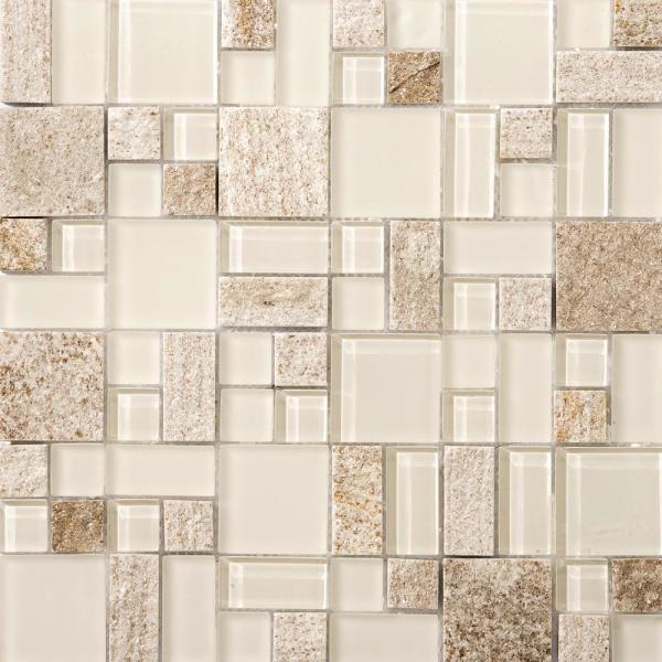 Lucente Servolo Gloss/Matte Mix 12.76 in. x 12.76 in. x 8mm Glass Mesh-Mounted Mosaic Tile (1.12 sq. ft.)