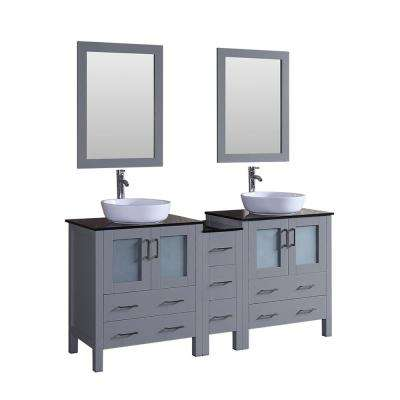 Bosconi 72 in. Double Vanity in Gray with Vanity Top in Black with White Basin and Mirror