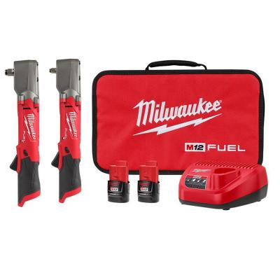 M12 FUEL 12-Volt Lithium-Ion Brushless Cordless 3/8 in. and 1/2 in. Right Angle Impact Wrench Kit (2-Tool)
