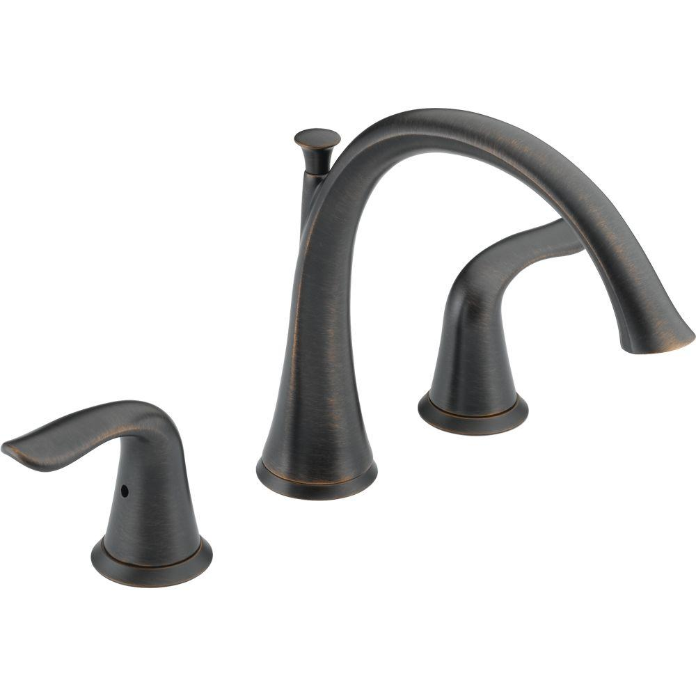 Delta Lahara 2-Handle Deck-Mount Roman Tub Faucet Trim Kit Only in ...