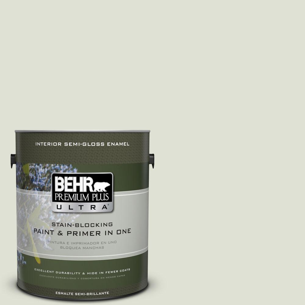 BEHR Premium Plus Ultra 1-gal. #PPU10-12 Whitened Sage Semi-Gloss Enamel Interior Paint