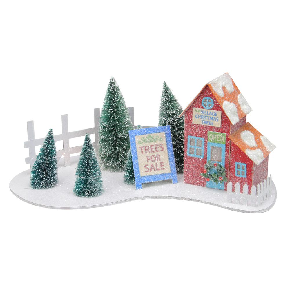 Northlight 15 In X 6 25 In Pre Lit Glittered Red Christmas Tree Shop With Pine Trees Decoration And Warm White Lights