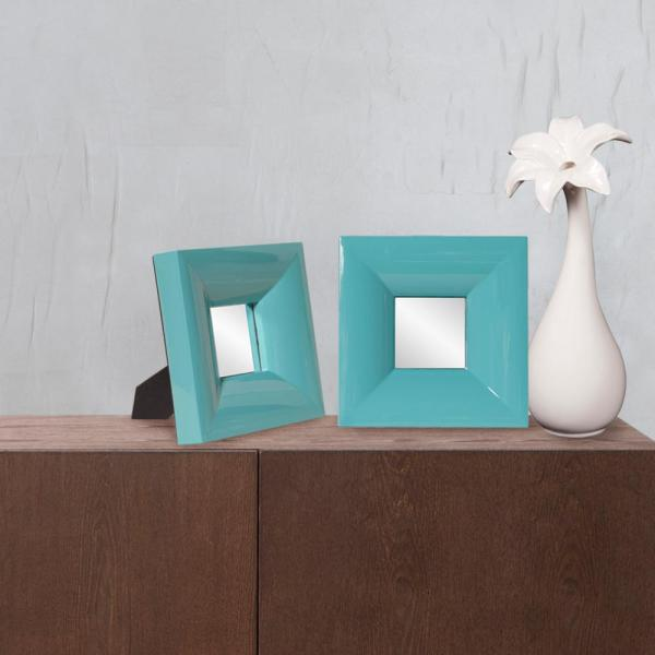 undefined 9 in. x 9 in. Candy Teal Small Table Mirror