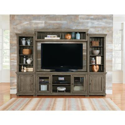 Willow 118 in. Weathered Gray Wood Entertainment Center Fits TVs Up to 55 in. with Wall Panel