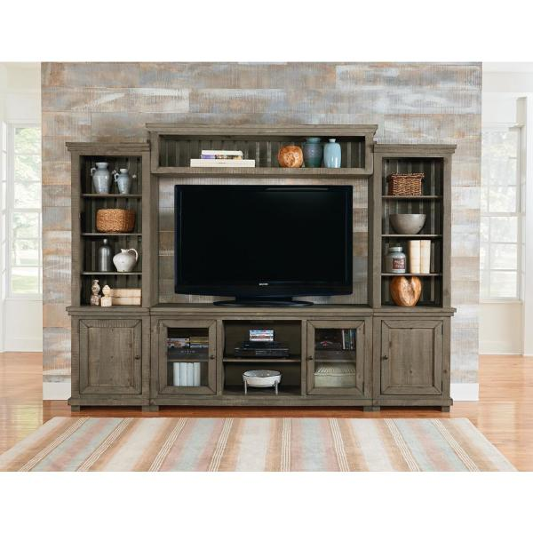 Willow Weathered Gray Complete Entertainment Center Wall Unit