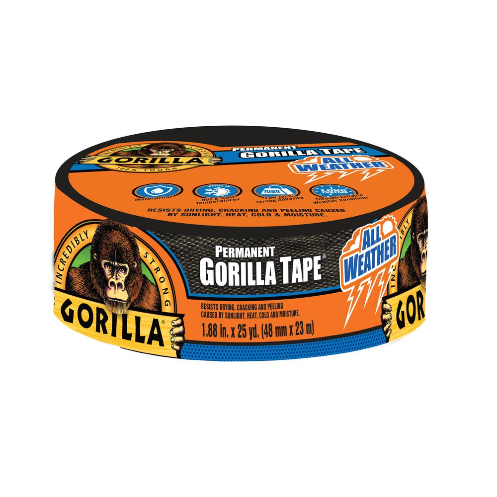 Gorilla Gorilla 1.88 in. x 25 yd. Black All Weather Tape (6-Pack), Blacks