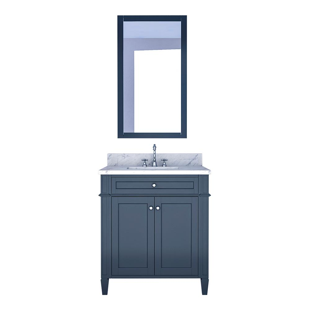 Design Element Birmingham 30 in. W x 22 in. D Bath Vanity in Gray with Marble Vanity Top in White with White Basin and Mirror
