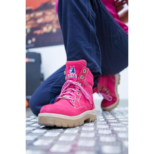 Steel Blue Women S Southern Cross 6 Inch Lace Up Work Boots Steel Toe Pink Size 10 W 522860w 100 Pnk The Home Depot