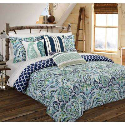 Painterly Paisley Floral Blue Full/Queen Comforter Set