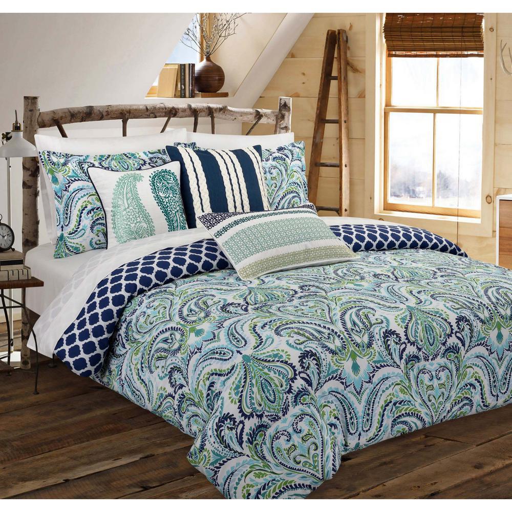Painterly 3-Piece Blue Paisley Full Comforter Set