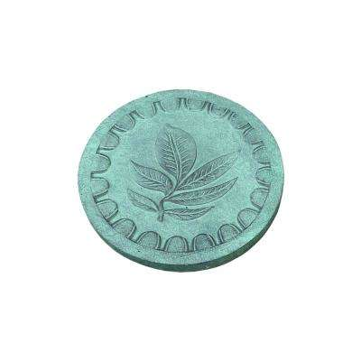 12 in. x 12 in. x 1 in. Green Leaf Concrete Lightweight Round Step Stone (2-Pack)