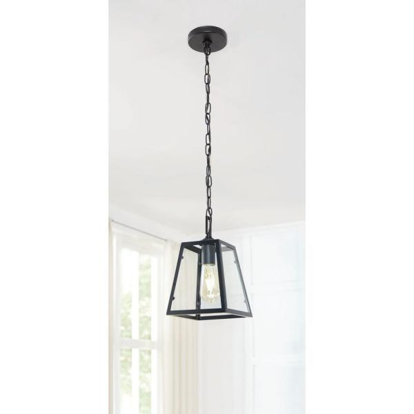Home Decorators Collection Knightley 1 Light Matte Black And Glass Mini Pendant P113 M B The Home Depot