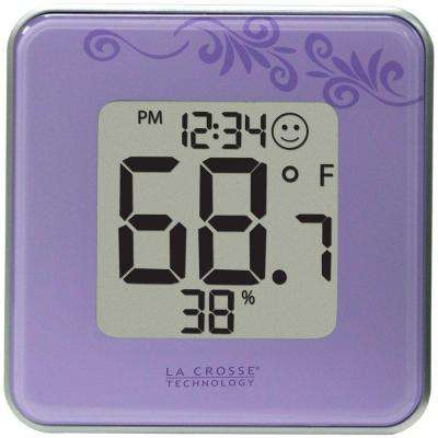 Digital Thermometer and Hygrometer in Purple