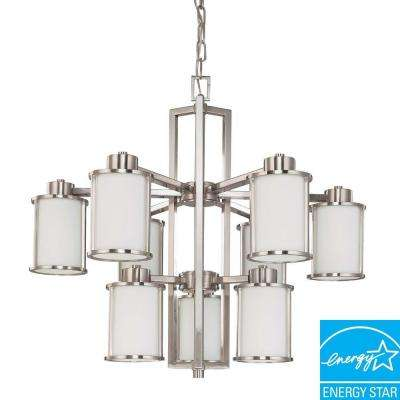9-Light Brushed Nickel Fluorescent Ceiling Chandelier