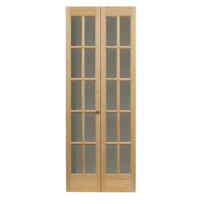 29.5 in. x 78.625 in. Williamsburg Unfinished Pine 10-Lite Clear Glass Solid Core Wood Bi-fold Door