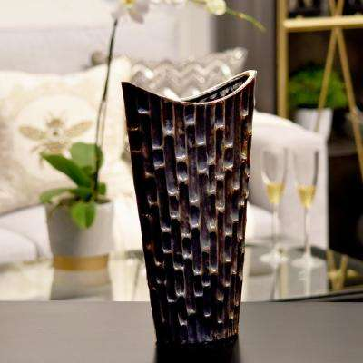 Black Distressed Finish Ceramic Decorative Vase