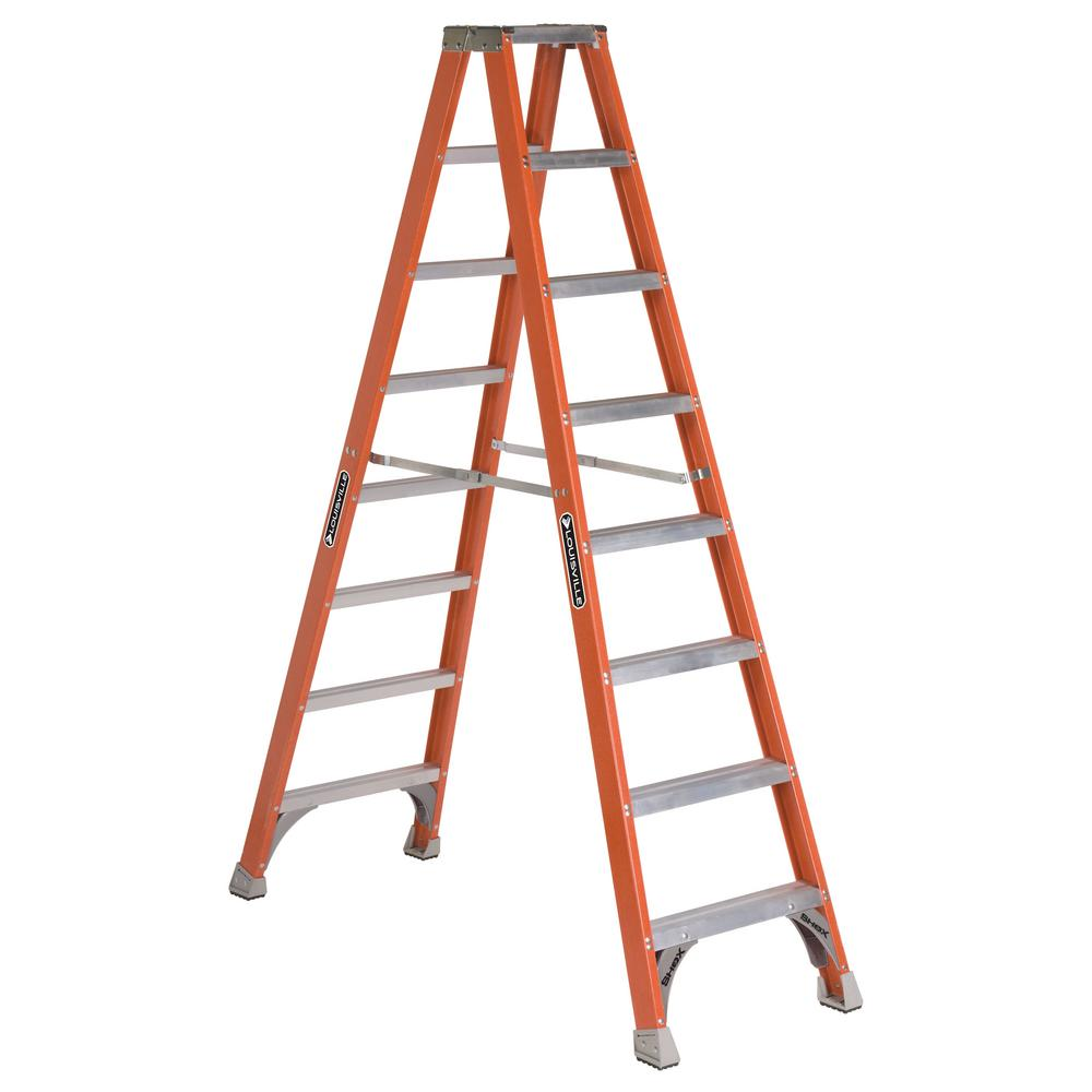Werner 20 ft. Fiberglass Twin Step Ladder with 300 lb. Load Capacity ...