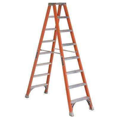 8 ft. Fiberglass Twin Step Ladder with 300 lbs. Load Capacity Type IA Duty Rating