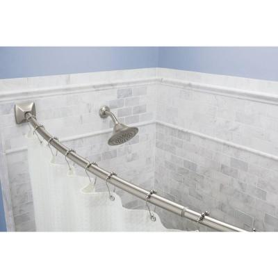 72 in. Permanent Adjustable Curved Shower Rod with Square Flange in Brushed Nickel