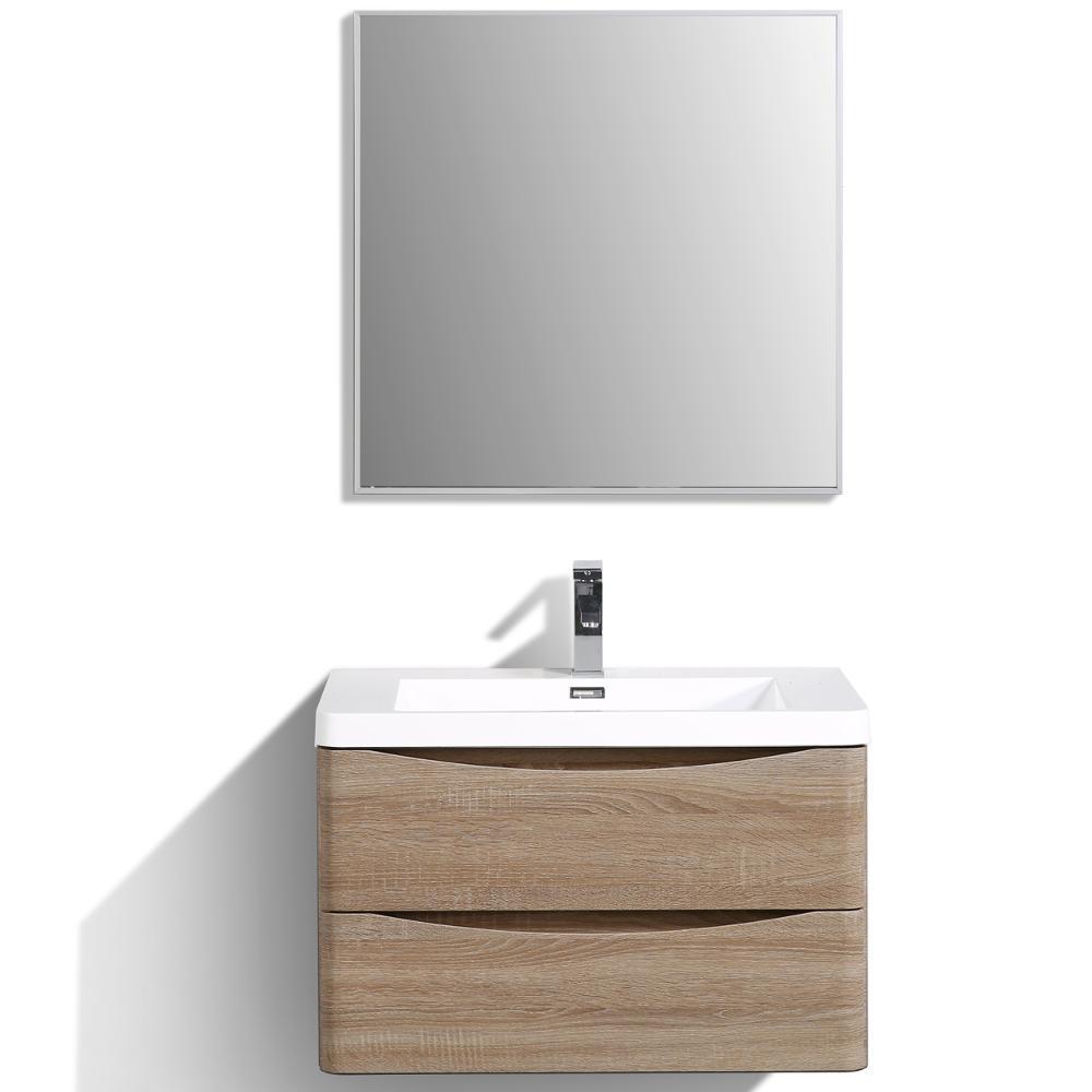 Smile 30 in. W x 20 in. D x 21 in. H Vanity in White with Acrylic Vanity Top in White Oak with White Basin
