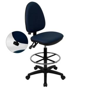 Mid Back Navy Blue Fabric Multi Functional Drafting Chair with Adjustable  Lumbar SupportWork Smart Deluxe Black AirGrid Back Drafting Chair DC2990   The  . Office Star Height Adjustable Drafting Chair With Footring. Home Design Ideas