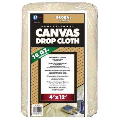 4 ft. x 12 ft. Heavy Weight Canvas Drop Cloth (10-Pack)