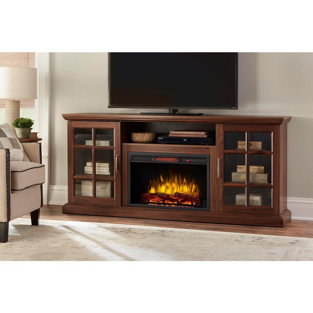 home decorators collection edenfield 70 in freestanding infrared electric fireplace tv stand in. Black Bedroom Furniture Sets. Home Design Ideas
