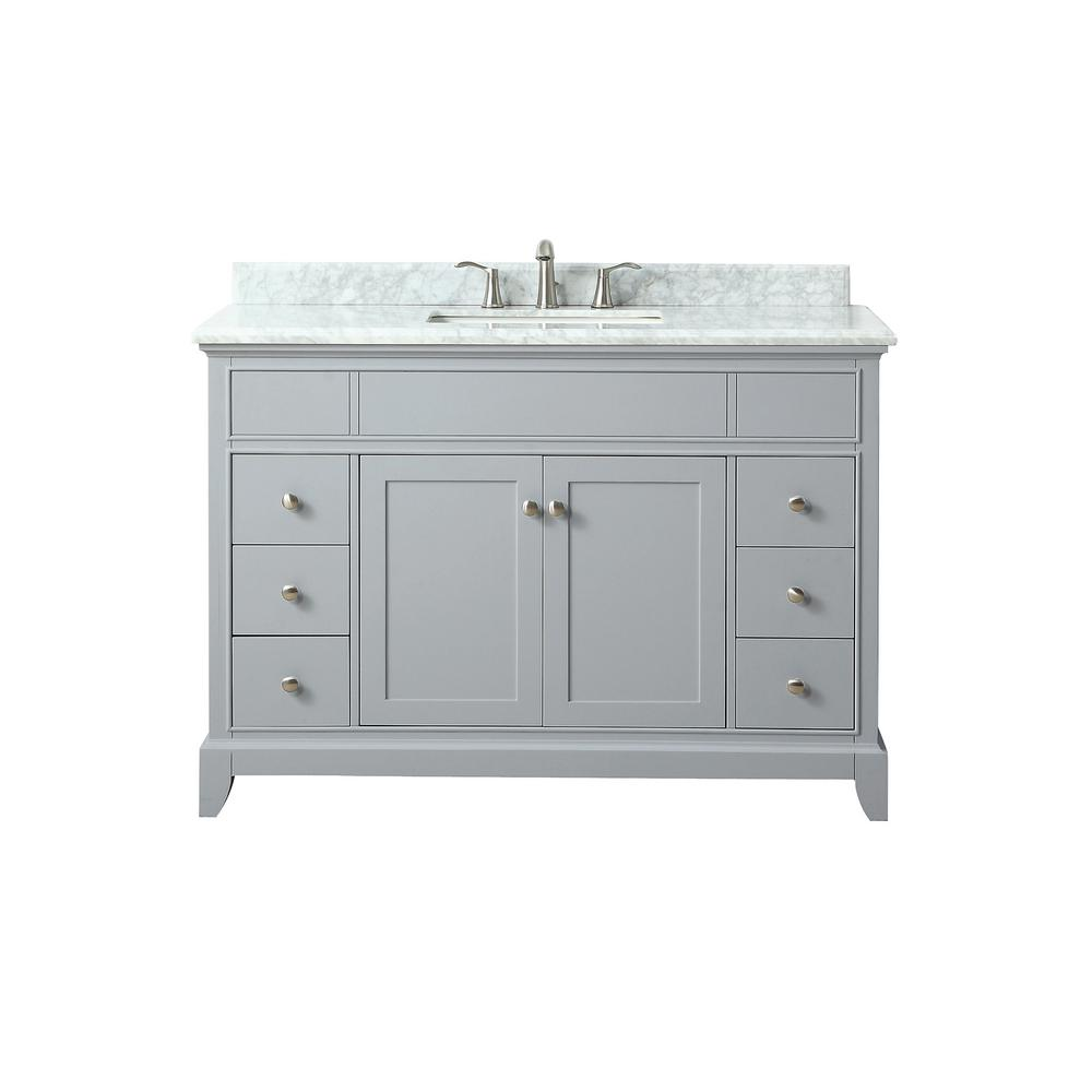 Azzuri Aurora 49 in. W x 22 in. D x 34.5 in. H Vanity in Light Gray with Marble Vanity Top in Carrera White with Basin