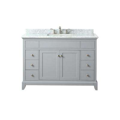 Aurora 49 in. W x 22 in. D x 34.5 in. H Vanity in Light Gray with Marble Vanity Top in Carrera White with Basin