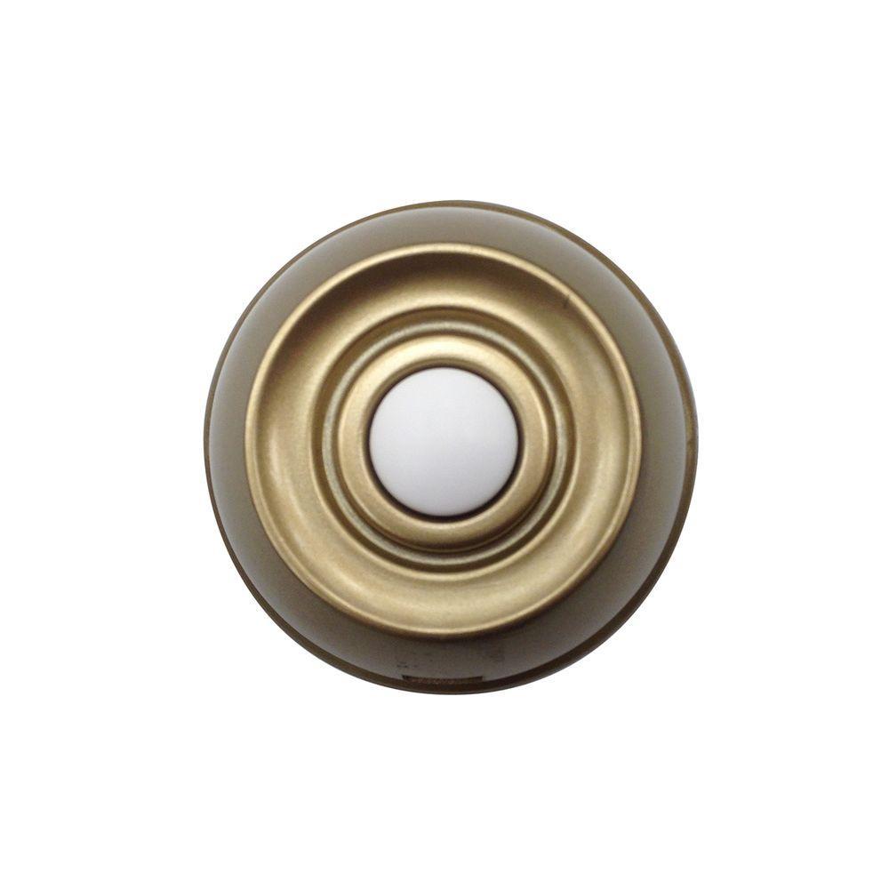 Wireless Push Button, Aged Brass