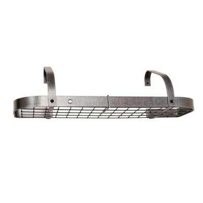 Premier Elite Bookshelf Wall Pot Rack in Hammered Steel