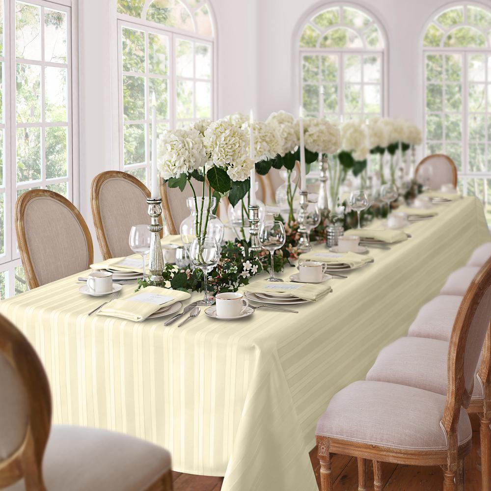 60 in. W x 120 in. L Ivory Elrene Denley Stripe Damask Fabric Tablecloth