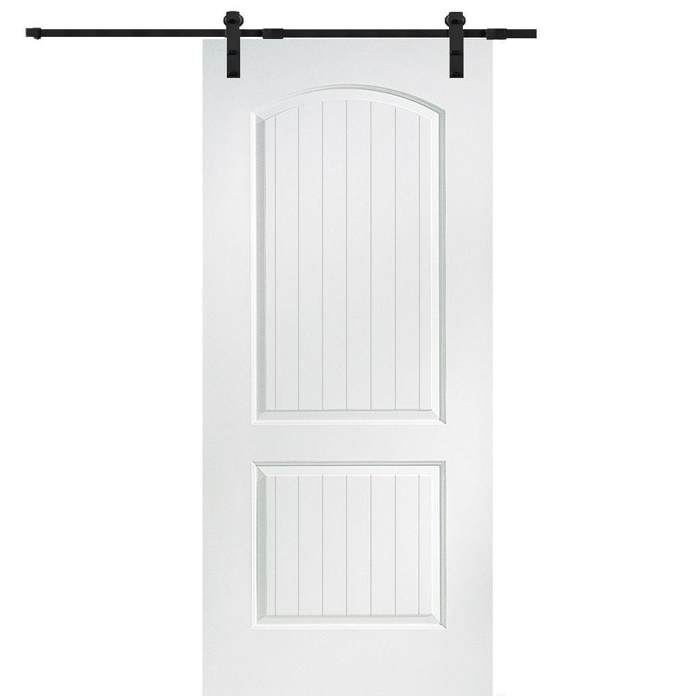36 in. x 80 in. Primed Composite Santa Fe Smooth Surface Solid Core Door with Barn Door Hardware Kit