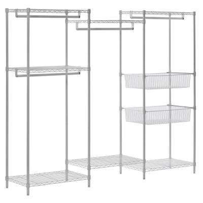 18 in. D x 89 in. W x 71 in. H White Wire 6-Shelves 4-Hanger Bars Room Steel Closet System Organizer