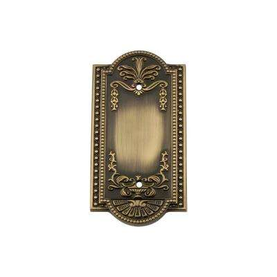 Meadows Switch Plate with Blank Cover in Antique Brass