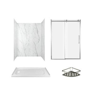 Passage 60 in. x 72 in. Left Drain 4-Piece Glue-Up Alcove Shower Wall, Shelf, Door and Base Kit in Serene Marble