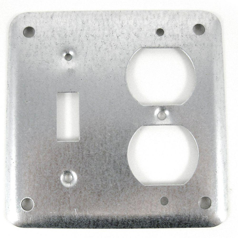 4 in. Metallic Square Box Cover for Toggle/Duplex Receptacle (Case of