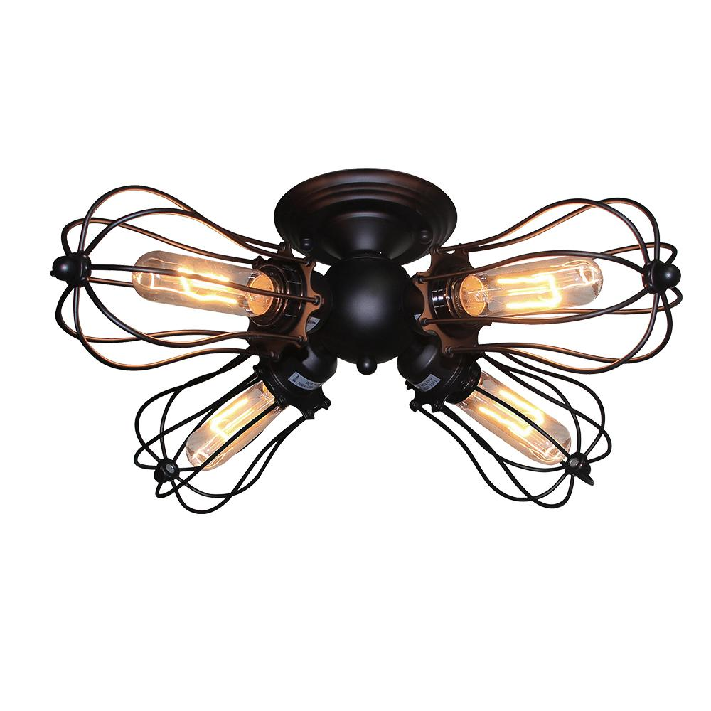 Lnc 4 Light Cage Black Semi Flush Mount Light A03151 The Home Depot