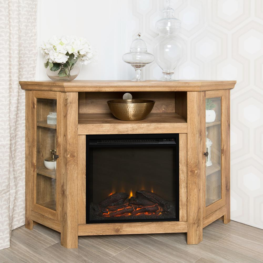 Walker Edison Furniture Company Barnwood Fire Place Entertainment Center Hd48fpcrbw The Home Depot